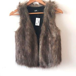 Dotti Faux Fur Front open Sleeveless Vest